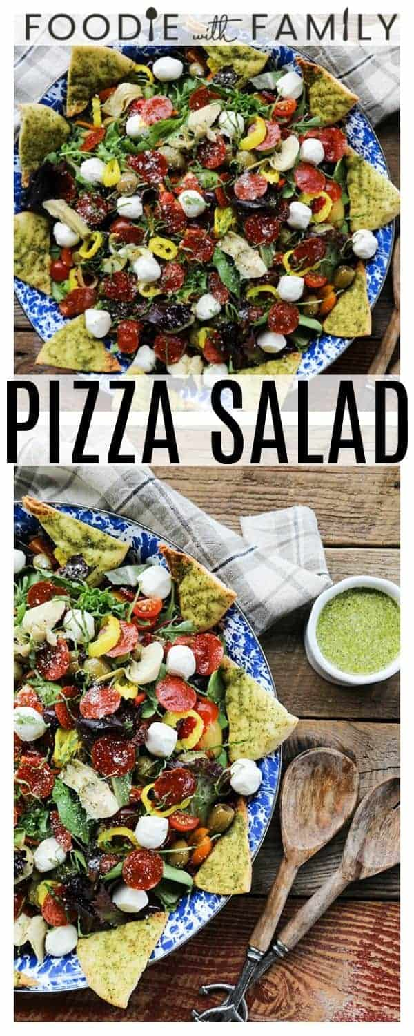 Supreme Pizza Salad: this salad is no boring, average salad. Mixed greens are tossed with crisped pepperoni, pesto pita chips, artichoke hearts, mini mozzarella balls, marinated olives, cherry tomatoes, sun dried tomatoes, pepperoncini, Parmesan cheese and a flavourful pesto vinaigrette.