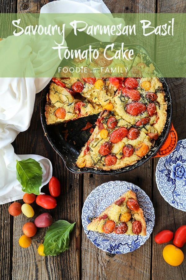 Not all cakes need to be sweet! This Savoury Parmesan Basil Tomato Cake is delicious and wonderfully memorable. You'll crave this all summer long!