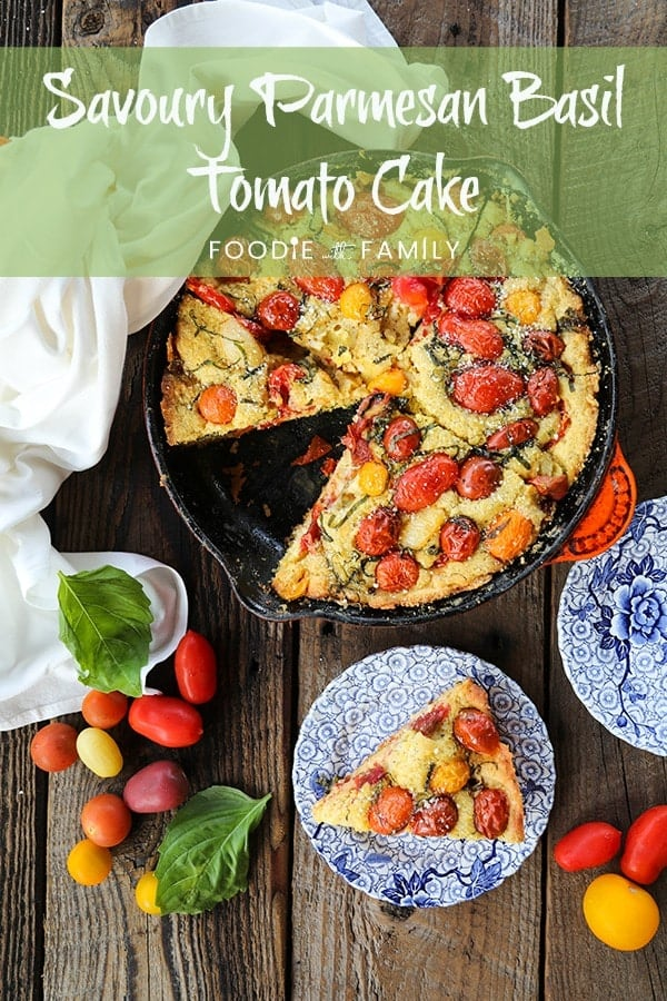 Not all cakes need to be sweet! This Savoury Parmesan Basil Tomato Cake is delicious and wonderfully memorable. You'll crave this Parmesan flavoured cake studded with burstingly fresh cherry tomatoes and fresh basil all summer long! Whip up with grape tomatoes in the cold months for a taste of warmth!