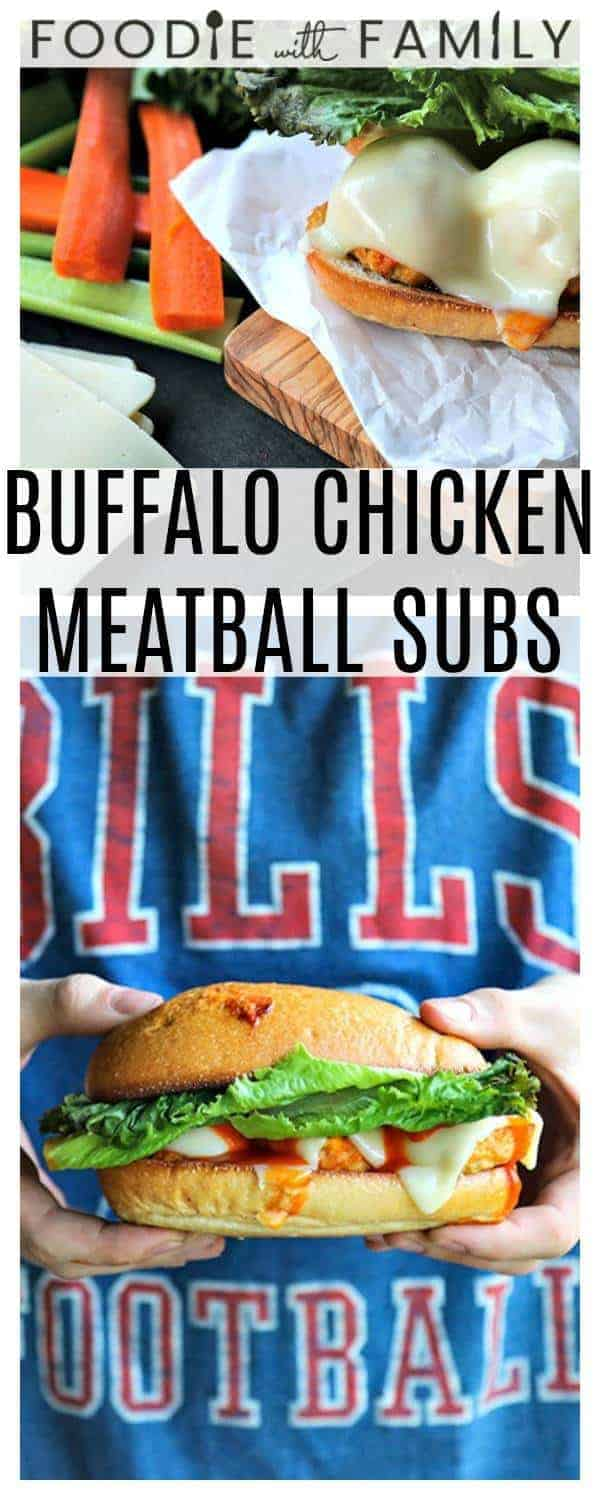 Baked Buffalo sauce infused, tender chicken meatballs studded with sauteed celery, onions, and carrots and crumbled bleu cheese served on toasted submarine or hoagie rolls topped with creamy, perfectly melted cheese. These irresistible subs are Game Day Perfection! Bonus: The Buffalo Chicken Meatballs freeze and reheat like a dream, so you're never more than a few minutes away from an amazing homemade meatball sub better than any sub shop on the block!