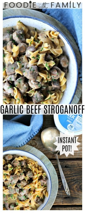 Instant Pot Garlic Beef Stroganoff: creamy, extra garlicky, mushroom and onion gravy enrobing tender beef cubes, with perfect pasta all cooked together in the Instant Pot. This has to be one of the most simple, crave-worthy comfort foods ever to be adapted to the world of electric pressure cookers.