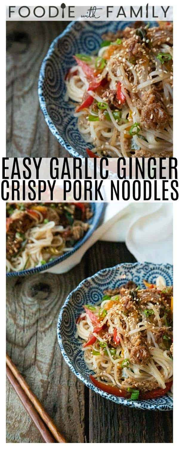Easy Garlic Ginger Crisp Pork Noodles are going to be your new favourite dinner. Crazy simple. Crazier delicious. And easy on your pocketbook to boot. This delicious meal-in-one whips up in less than 30 minutes.