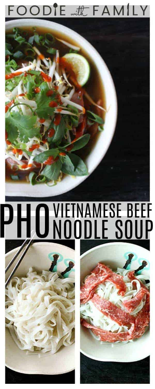 In this Pho recipe, fragrant beef broth is poured over paper thin slices of beef on top of rice noodles, bean sprouts, fresh cilantro and basil, thin slices of hot peppers (if you're brave), and a squeeze of lime, and you're absolutely in another world; a world where everything is a taste explosion!