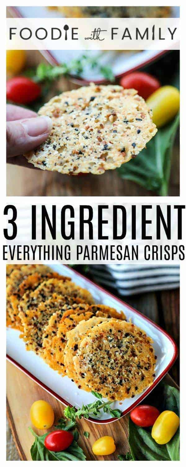 Made with just 3 ingredients, Everything Parmesan Crisps are the perfect crackers to have while you share a glass of wine with your best friends, to serve as a crouton on salads, or just to nibble to put a smile on your face! And wonder of wonders, they're done in under 15 minutes!