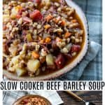 Slow Cooker Beef Barley Soup is hearty and comforting, easy to make, and incredibly delicious! It's absolutely bursting with tender beef, good-for-you vegetables, and flavourful, plump barley.