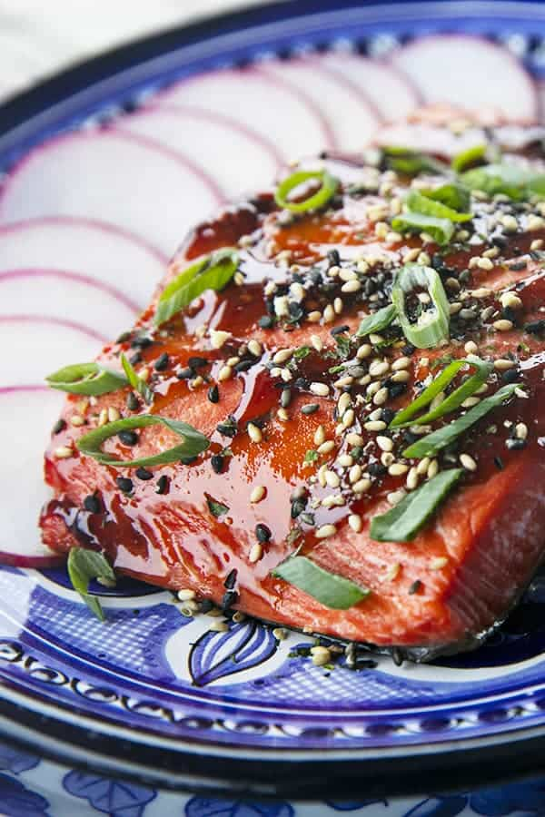 Glazed Salmon with sesame seeds and green onions, radishes, on a blue and white plate