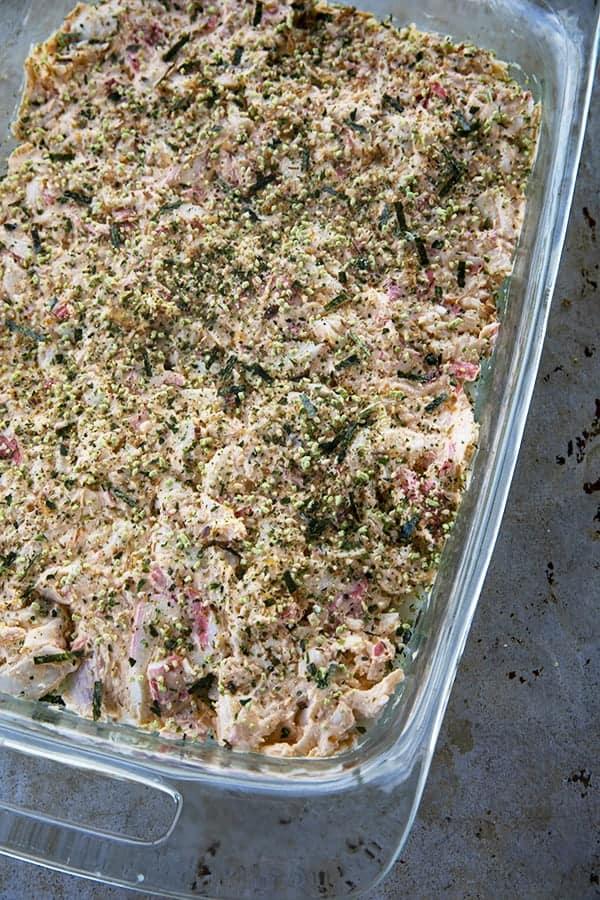 Sushi Bake creamy crab layer with furikake in glass pan