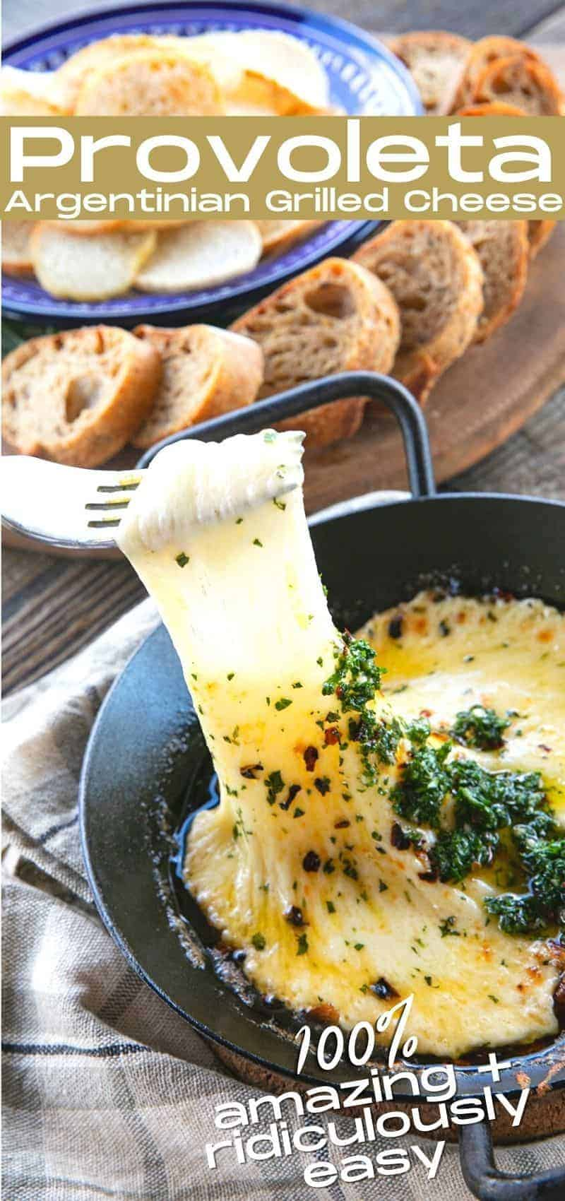 Provoleta -or Fried Cheese- is a delicious Argentinian cheese dish of pan-fried provolone cheese with crushed red pepper flakes and delicious garlic and herb chimichurri. An easier and more enticing appetizer simply doesn't exist!