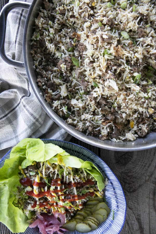 Ground Beef Fried Rice a.k.a. Cheeseburger Fried Rice
