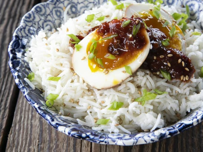 Soy Sauce Eggs or Ramen Eggs are boiled eggs soaked in a fragrant mix of soy sauce, brown sugar, rice vinegar, aromatics, and hot pepper. You'll be so happy they're easy because you'll always want them! This post includes instructions on how to make eggs to your preference in the instant pot! Whether you love soft boiled eggs, jammy medium boiled eggs, or hard boiled eggs, these instructions will help you nail them every single time!
