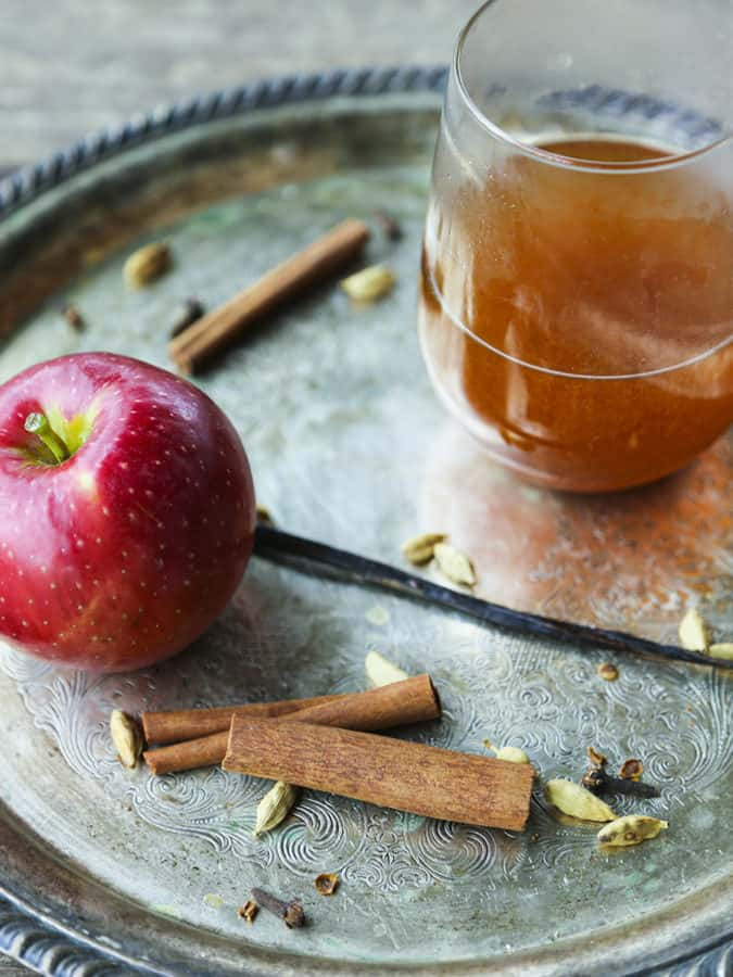 Slow-Cooker Mulled Apple Cider is bursting with fresh apple flavour in this spiced, gently vanilla-scented, lightly maple sweetened brew.