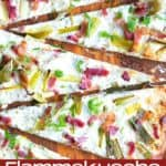Flammekueche, tarte Flambée, or flammkuchen is a fast and easy bacon and onion pizza type flatbread made with crème fraîche or sour cream.