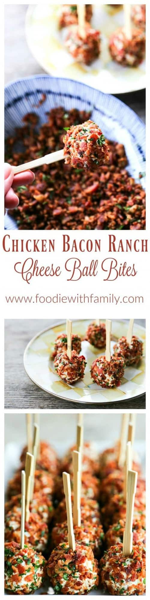 Chicken Bacon Ranch Cheese Ball Bites are the ultimate party food. Two-bite chicken and cheese balls completely crusted in crispy bacon and fresh parsley!