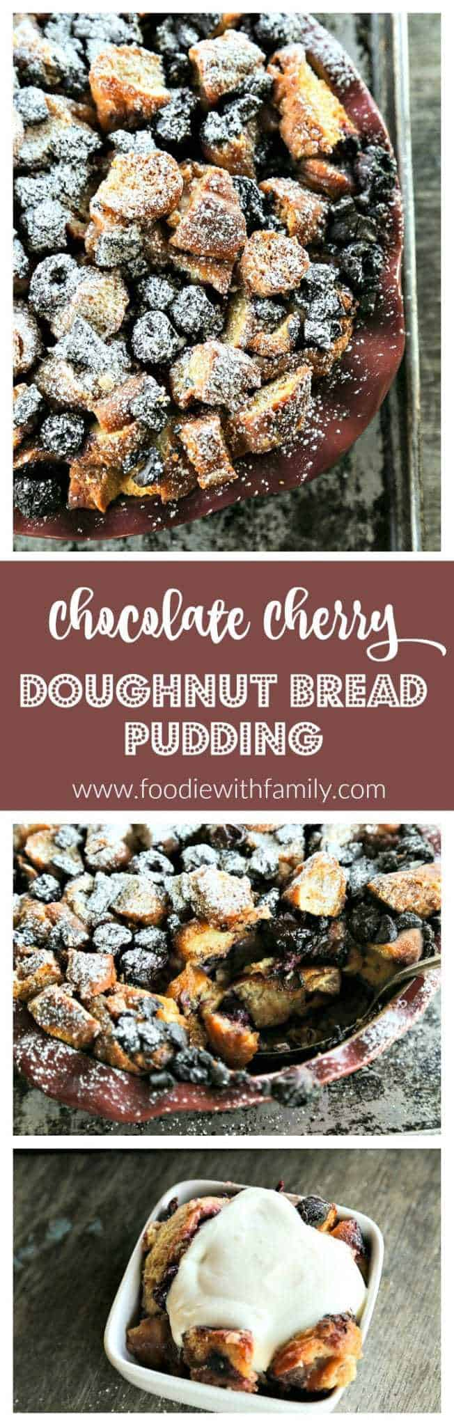 Chocolate Cherry Doughnut Bread Pudding is the creamiest, richest, most souffle-like bread pudding of leftover doughnuts, dark chocolate chunks, and sweet, black cherries.