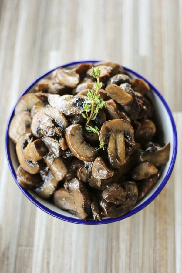 Savoury, tender, umami-packed morsels of Garlic Butter Sautéed Mushrooms make a great side dish for roasts and steaks, or topper for polenta or noodles.