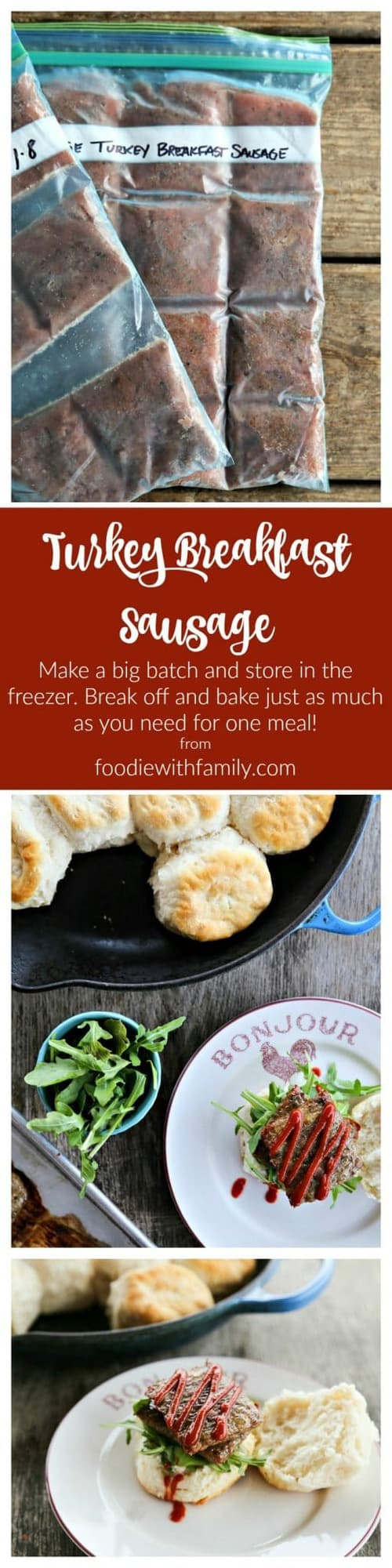 Turkey Breakfast Sausage: a simple, nutritious, delicious alternative to commercial breakfast sausages. Make, freeze, break, and bake!