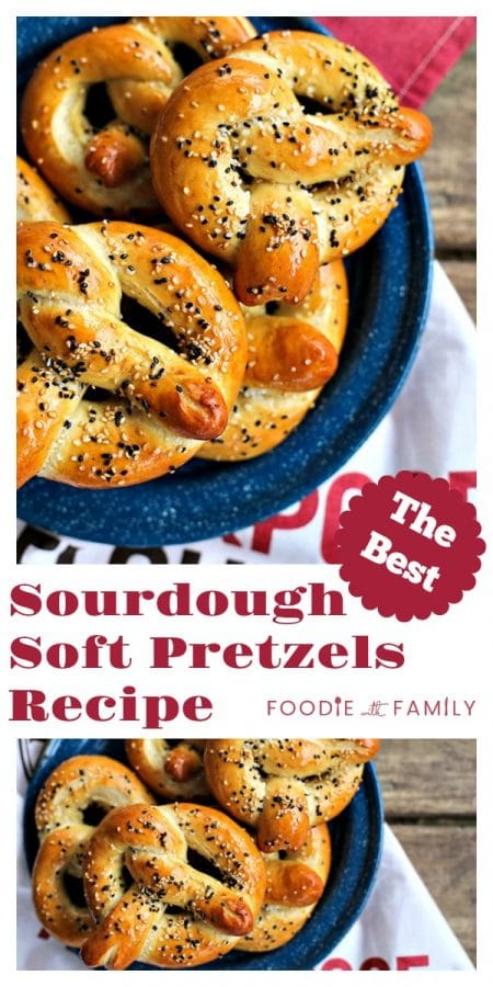 Buttery, salty, and topped with delicious sesame seeds, these chewy yet tender, golden brown sourdough soft pretzels are truly the best. Bonus: This is made with unfed starter, so no special timing needed!