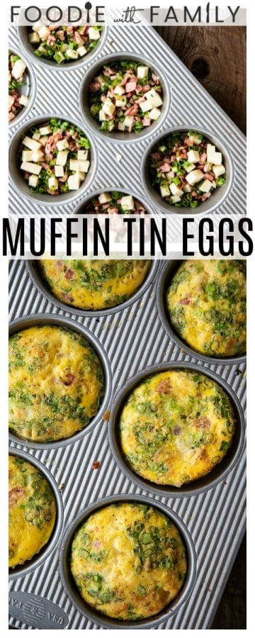 Muffin Tin Eggs; craveable crisped ham, green onions, Cheddar cheese, and egg baked to puffy, golden perfection. These egg muffins are a perfect topper for toasted English muffins or beside a salad for a full, light meal.