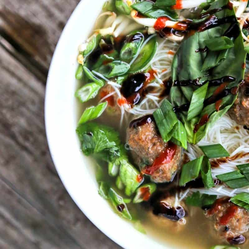 Simple Turkey Meatball Pho; a quick hack to make a fragrant, delicious pho broth from store bought stock or broth plus flavourful Asian Turkey Meatballs and a generous amount of fresh herbs and vegetables.