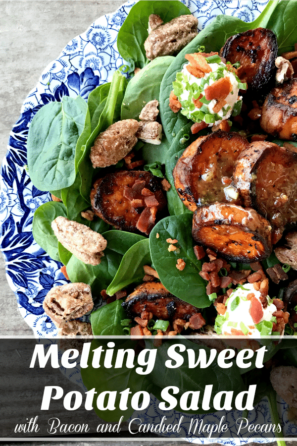 Melting Sweet Potato Salad: tender baby spinach salad with gorgeous, caramelized, deep orange melting sweet potato rounds, crumbled bacon, goat cheese crusted with more bacon and fresh chives, candied maple pecans, and an irresistible hot bacon vinaigrette dressing.