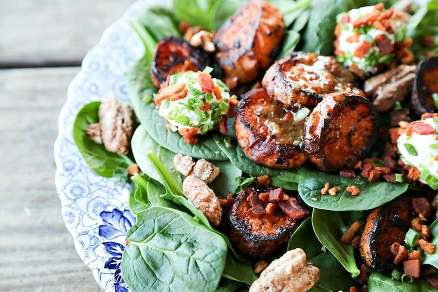 Melting Sweet Potato Salad with Candied Maple Pecans and Bacon