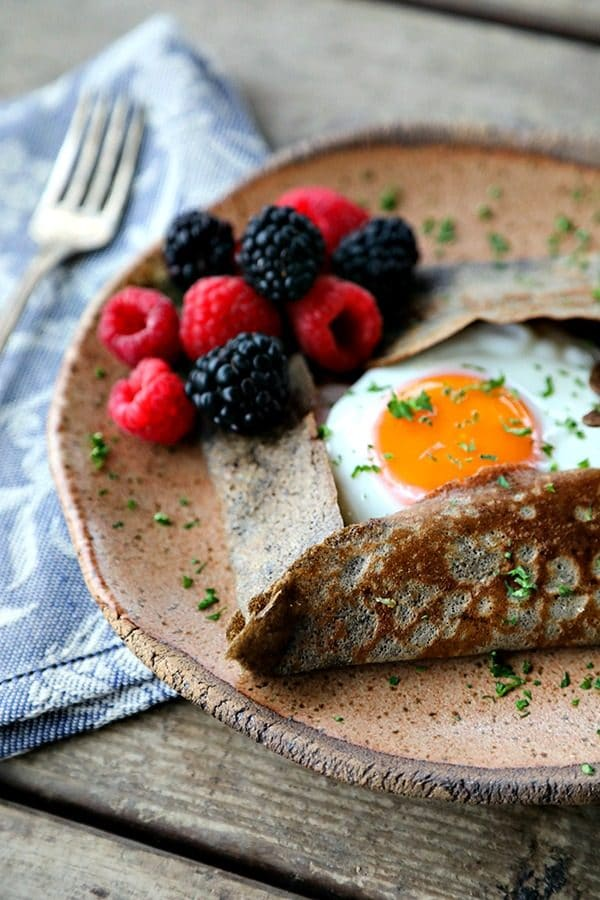 Pure Buckwheat Crepes are a classic staple of French cuisine: crispy edged, simple to make, and wonderful most especially wrapped around savoury ingredients, but great around sweet ones, too.