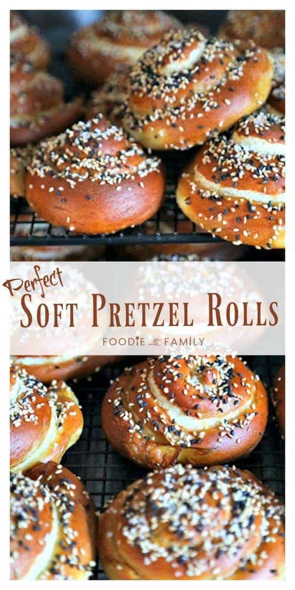 The most perfect soft pretzel rolls for sandwiches. Tender yet chewy, and substantial enough to hold up to any fillings. Topped with a delightful combination of sesame seeds and pretzel salt.