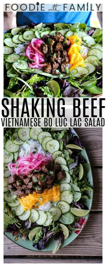 Bo Luc Lac -Shaking Beef- is a spectacularly fresh and flavourful Viêtnamese salad of mixed greens, cucumbers, pickled red onions, juicy mango, tender rice vermicelli noodles, bright herbs, and an irresistible black pepper lime dressing.