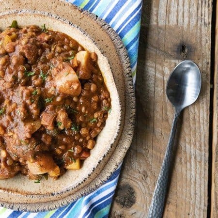 Chorizo Chili is hearty, spicy, slow-simmered chorizo in smoky tomato sauce with tender potatoes, carrots, and lentils. This is serious comfort food!