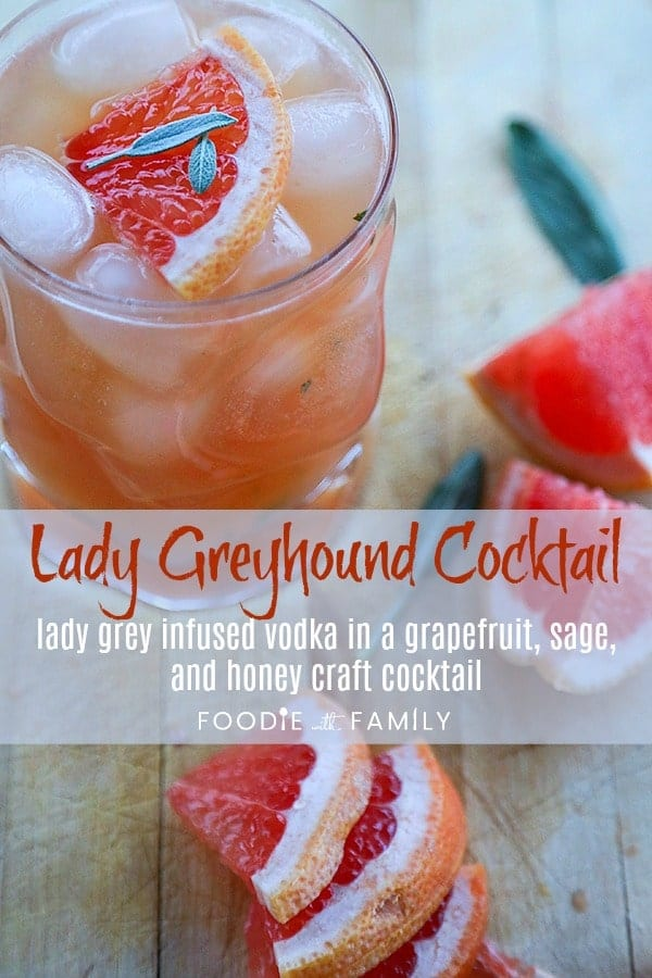The Lady Greyhound Cocktail; Lady Grey infused vodka, fresh grapefruit juice, sage, and a little honey combine for this bright and sunny, ultra refreshing twist on a classic greyhound.