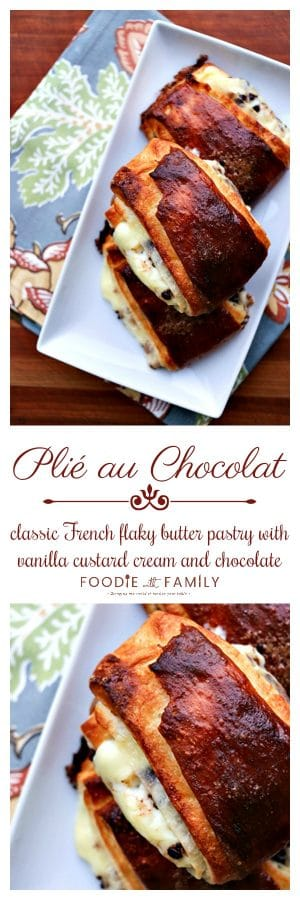 Plié Au Chocolat: buttery puff pastry spread on one side with pastry cream & miniature chocolate chips, then folded, & baked to flaky, mahogany perfection.