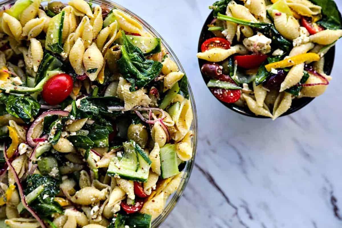 Greek Pasta Salad Recipe Vegan