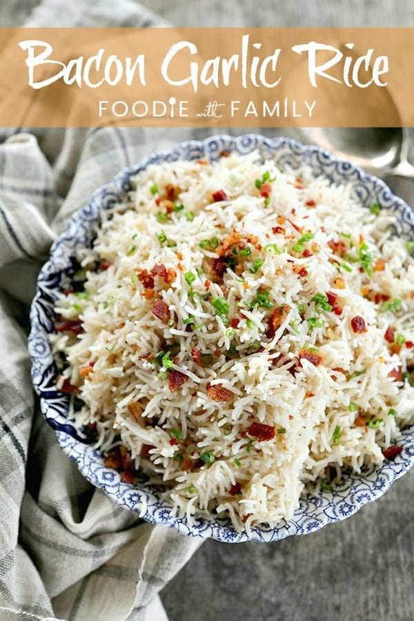 Bacon Garlic Rice; tender grains of basmati rice bursting with bacon, fried garlic, and fresh green onion. It's a flavour explosion that is great with grilled chicken, fish, beef, or pork, or nibbled straight from the fridge at midnight.