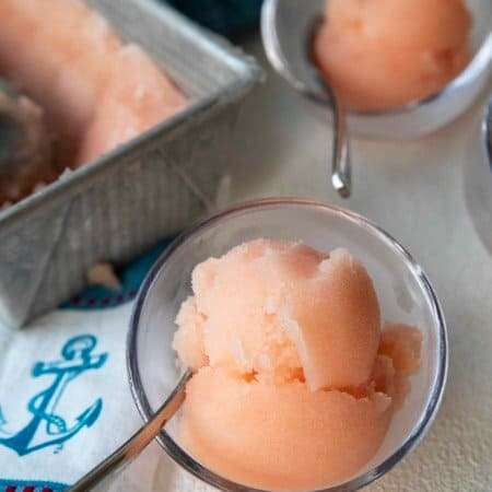 Crisp, refreshing, smooth and silky in texture, this grapefruit sorbet makes a great dessert by itself or cocktail when doused with a shot of gin or vodka.