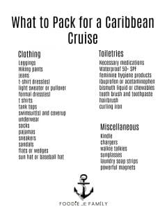 What to Pack for a Caribbean Cruise: a printable list from Foodie with Family