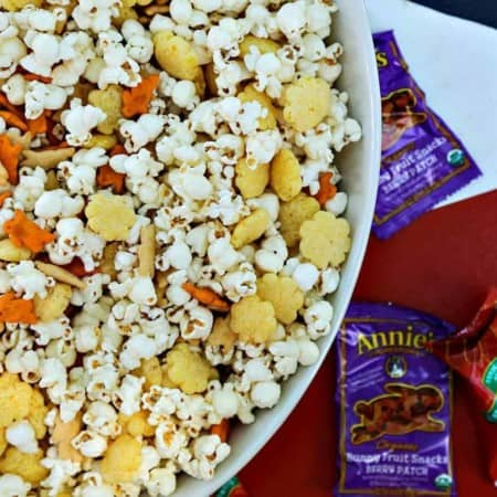 The Ultimate Cheddar Lover's Popcorn Snack Mix is full of cheddar popcorn, two kinds of cheddar crackers, cheddar puffs, and boxed cheddar snack mix. This is sure to banish those after-school snack attacks with style!