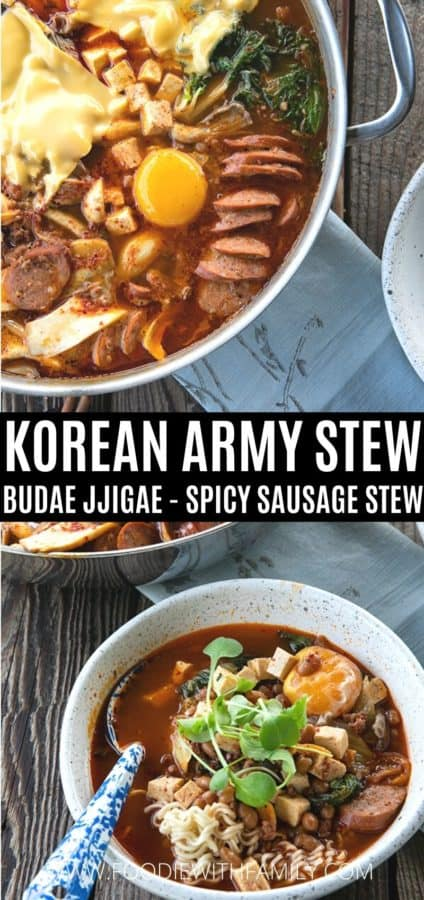 Korean Army Stew or Budae Jjigae in a pan and in a bowl with a blue linen