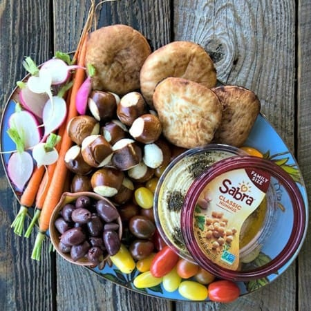 Make the ultimate Hummus After School Snack Board using the 3, 2, 1 Rule.