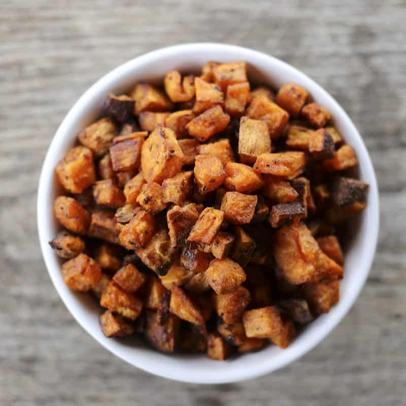 Crunchy, crispy, baked Sweet Potato Croutons from foodiewithfamily.com