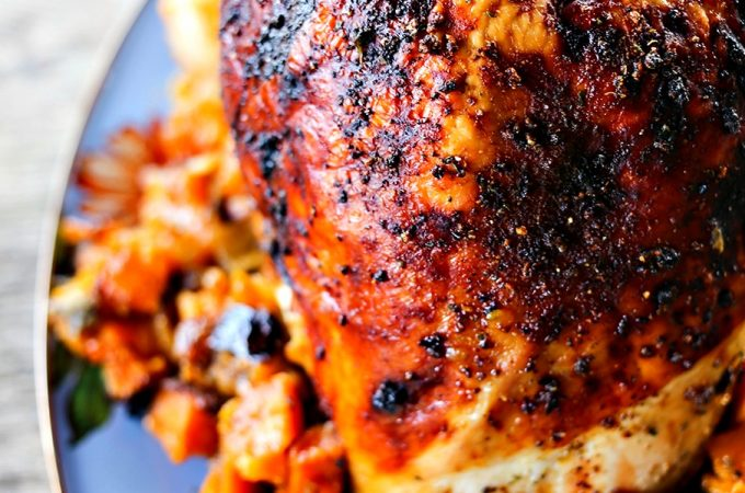 1-Pot Roasted Turkey Breast Dinner with Sweet Potatoes