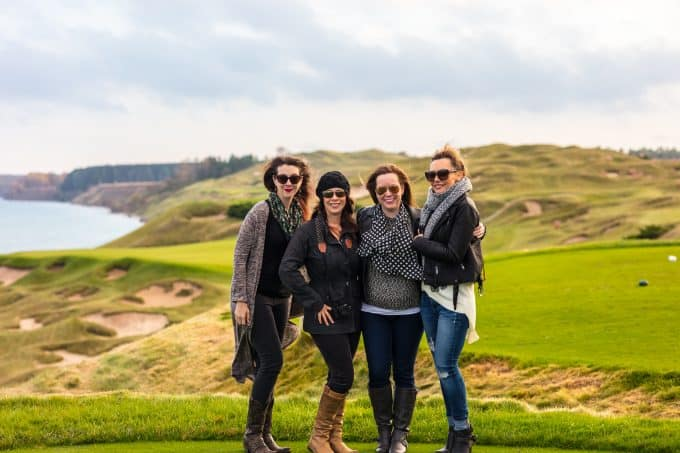 Foodie with Family (Rebecca), A Spicy Perspective (Sommer), The Cookie Rookie (Becky), and Diethood (Katerina), at Whistling Straits in Kohler Wisconsin.