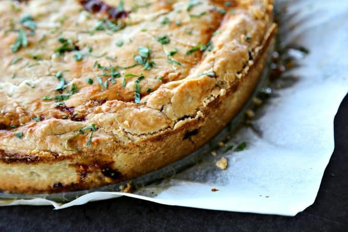 This classic Cheese and Onion Pie is 100% comfort food and 100% easy. A slice of Cheese and Onion Pie with salad is perfection!