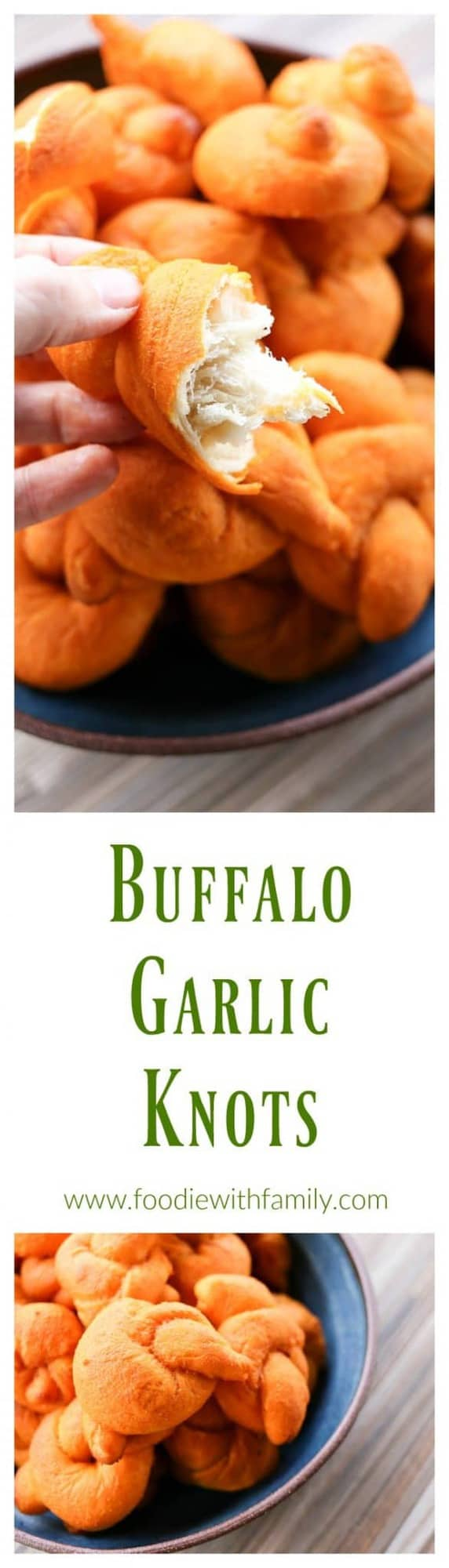 Buffalo Garlic Knots: tender, three bite sized spicy Buffalo Garlic Knots from foodiewithfamily.com