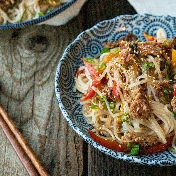 Easy Garlic Ginger Crispy Pork Rice Noodles