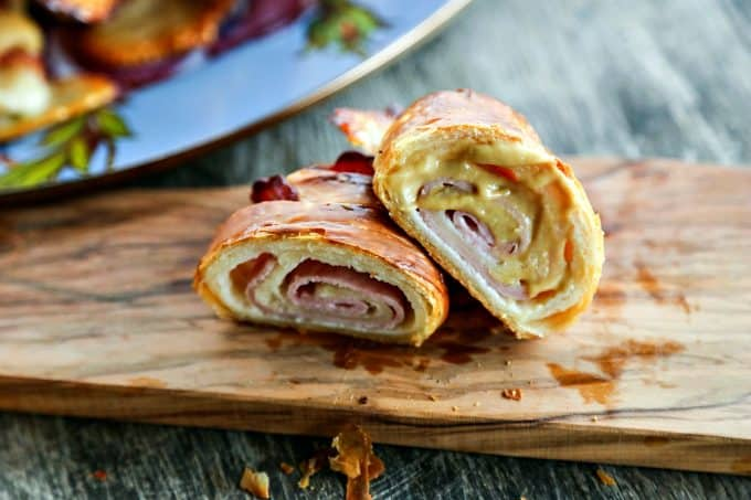 Ham and Cheese Croissants: homemade butter pastry is wrapped around tender ham and Swiss cheese and baked to brown, flaky perfection.