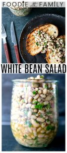 Full of fresh herb flavors, White Bean Salad comes together in a breeze. Made with canned or home cooked white beans, abundant fresh herbs, and a simple vinaigrette dressing, this salad is delicious as a light lunch on its own or as a side dish with all your favorite entrees.