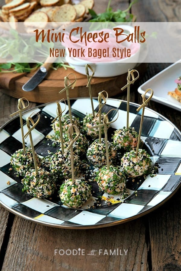 These gorgeous little two-bite, mini cheese balls are dressed up with smoked salmon, chives, and everything bagel seasoning.Served as an appetizer or brunch offering with pickled red onions, capers, and bagel chips, these taste like a New York City lox bagel brunch at its finest.